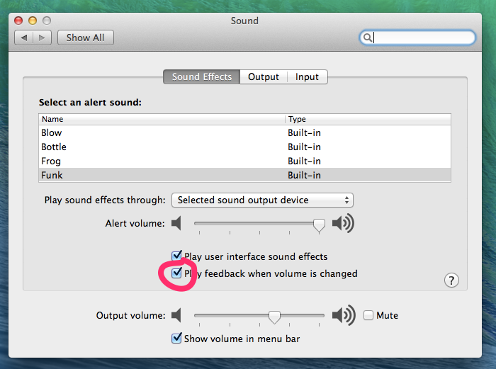 osx volume click off