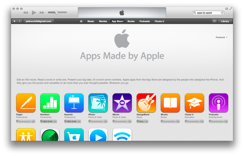 apple appstore apps by apple result