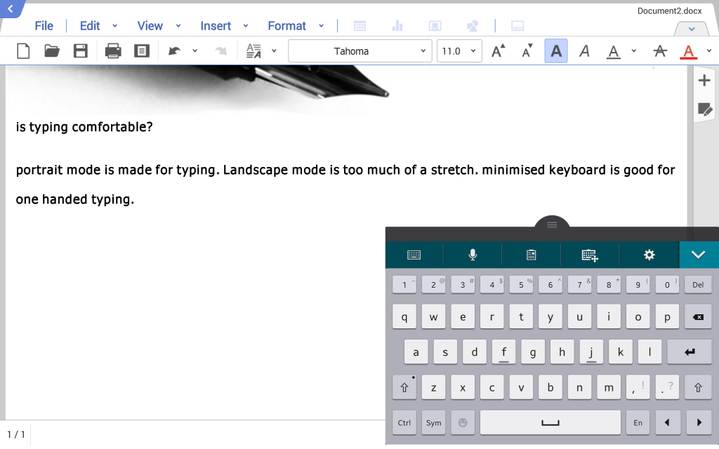 samsung galaxy tab pro ycp review landscape mode minimized keyboard