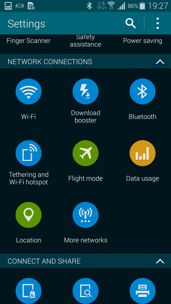 samsung galaxy s5 settings page download booster