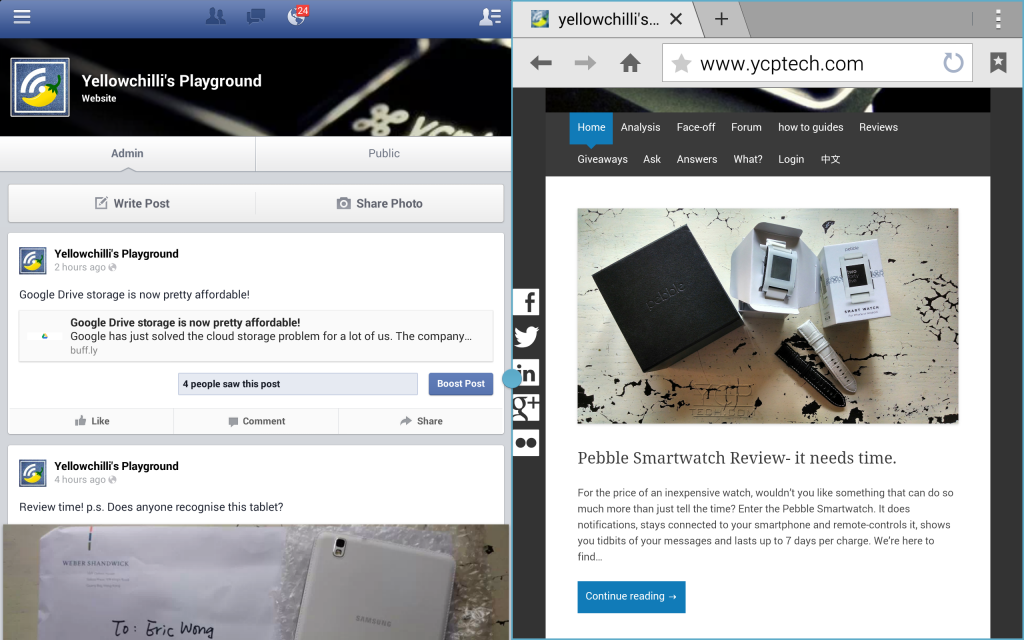 samsung galaxy tab pro 8.4 ycp review multiwindow mode side by side